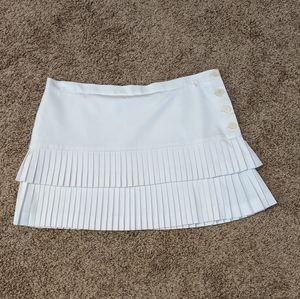 White BCBG Knife Pleated Mini Skirt